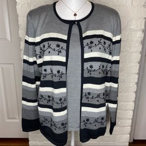 Alfred Dunner Floral Striped Twin Set Sweater M
